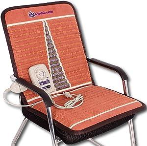 "MediCrystal Far Infrared Chair Mat - 40""L x 20""W - Natural Amethyst - FIR Heating 86-158°F (30-70°C) - Negative Ion - FDA Registered Manufacturer- Hot Stone Pad"