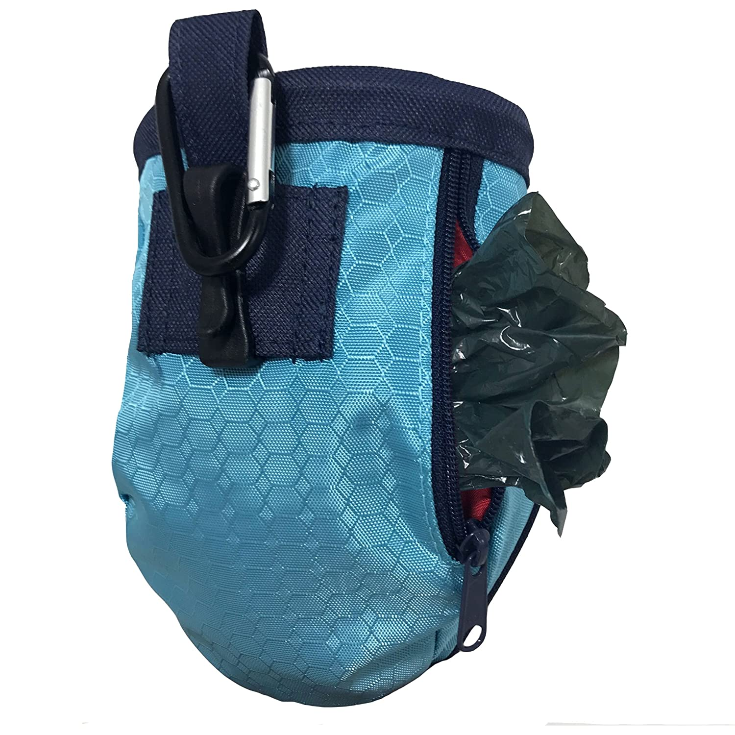 Kurgo Dog Training Treat Pouch Bag Includes Clip /& Carabiner Reflective Snack Bag for Pets Portable Pet Pocket Waist Clip Bag Treat Bags for Dogs Go Stuff-It Bag Coastal Blue /& Chili Red