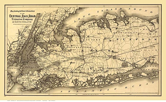 Amazon.com: Long Island New York - 1873 Central Railroad Map ... on new york railroad map 1870, new york ontario and western, amtrak map, new york underground railroad map, new york railroad track maps, norfolk and western railroad map, lehigh valley railroad map, baltimore and ohio railroad map, central pacific railroad map, grand trunk railroad map, bnsf railroad map, pennsylvania railroad map, csx railroad map, new york rail system map, reading railroad map, rock island railroad map, wabash railroad map, nickel plate railroad map, new york state railroad, erie railroad map,