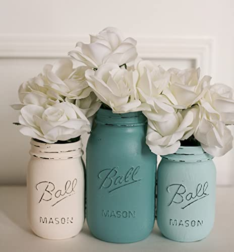 Blue and Cream Painted Distressed Mason Jar Vases- Flower Vases- Wedding  Centerpiece-