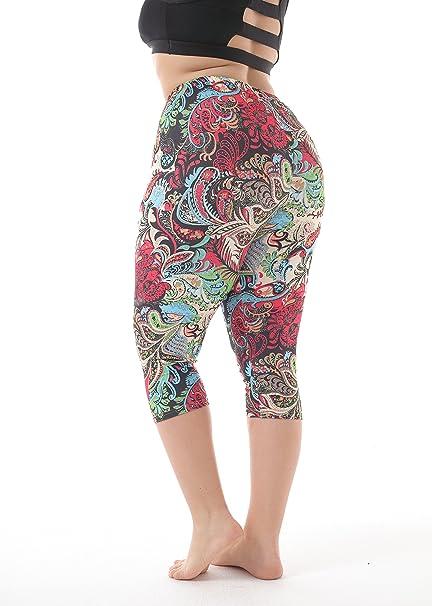 ea1a19d7b96 ZERDOCEAN Women's Plus Size Lightweight Printed Capri Leggings for Summer  at Amazon Women's Clothing store: