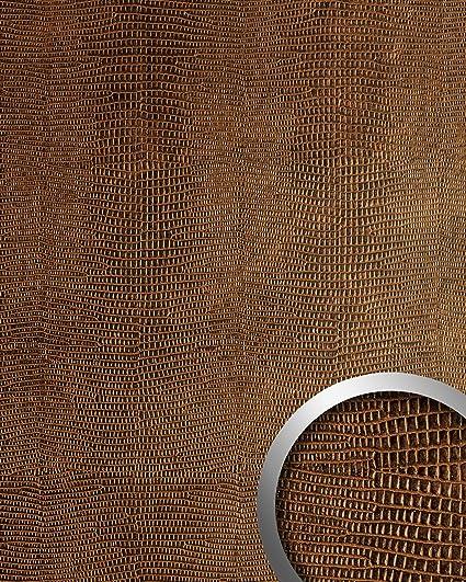 Panel decorativo autoadhesivo de lujo WallFace 12894 LEGUAN Diseño piel de iguana con relieve 3D marrón