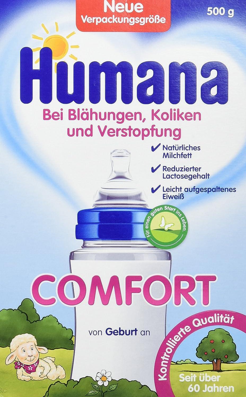 Humana Comfort, bei Blähungen, Verstopfung & Drei-Monats-Koliken, Spezialnahrung bei Verdauungsproblemen, mit aufgespaltenem Eiweiß, von Geburt an, 500 g bei Blähungen Humana GmbH 78034