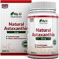 Astaxantina 12 mg - 180 Capsule Softgels (Scorta Per 6 Mesi) - La Più Alta Dose Di Astaxantina - Integratori alimentari Nu U Nutrition