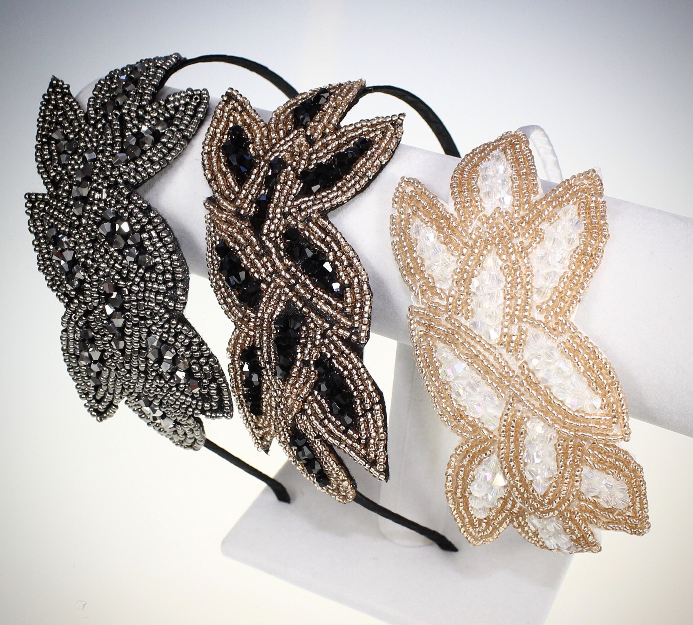 Beaded Flapper Headband Leaf Vintage 1920s Inspired Hairband Hair Accessory, Grey by CB Accessories (Image #7)