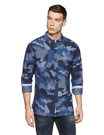 3516b81391295 TOMMY HILFIGER Men's Casual Shirt (8907504384402_P7ATW106_S_Camouflage  Light Indigo)