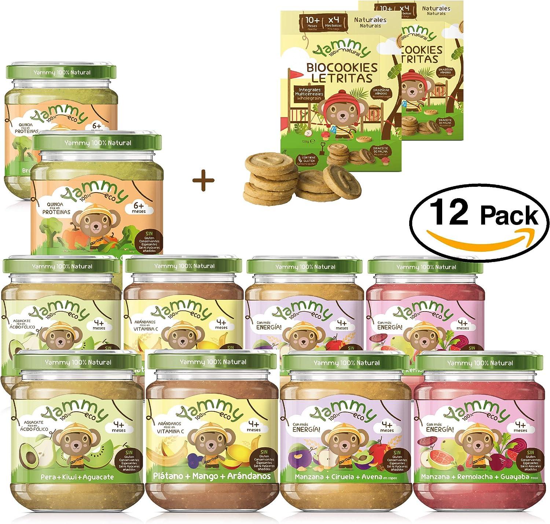 Yammy, Pack Vegano de Potitos y Galletas Ecológicas Naturales- 12 unidades. (Total 2190 gr.): Amazon.es: Alimentación y bebidas