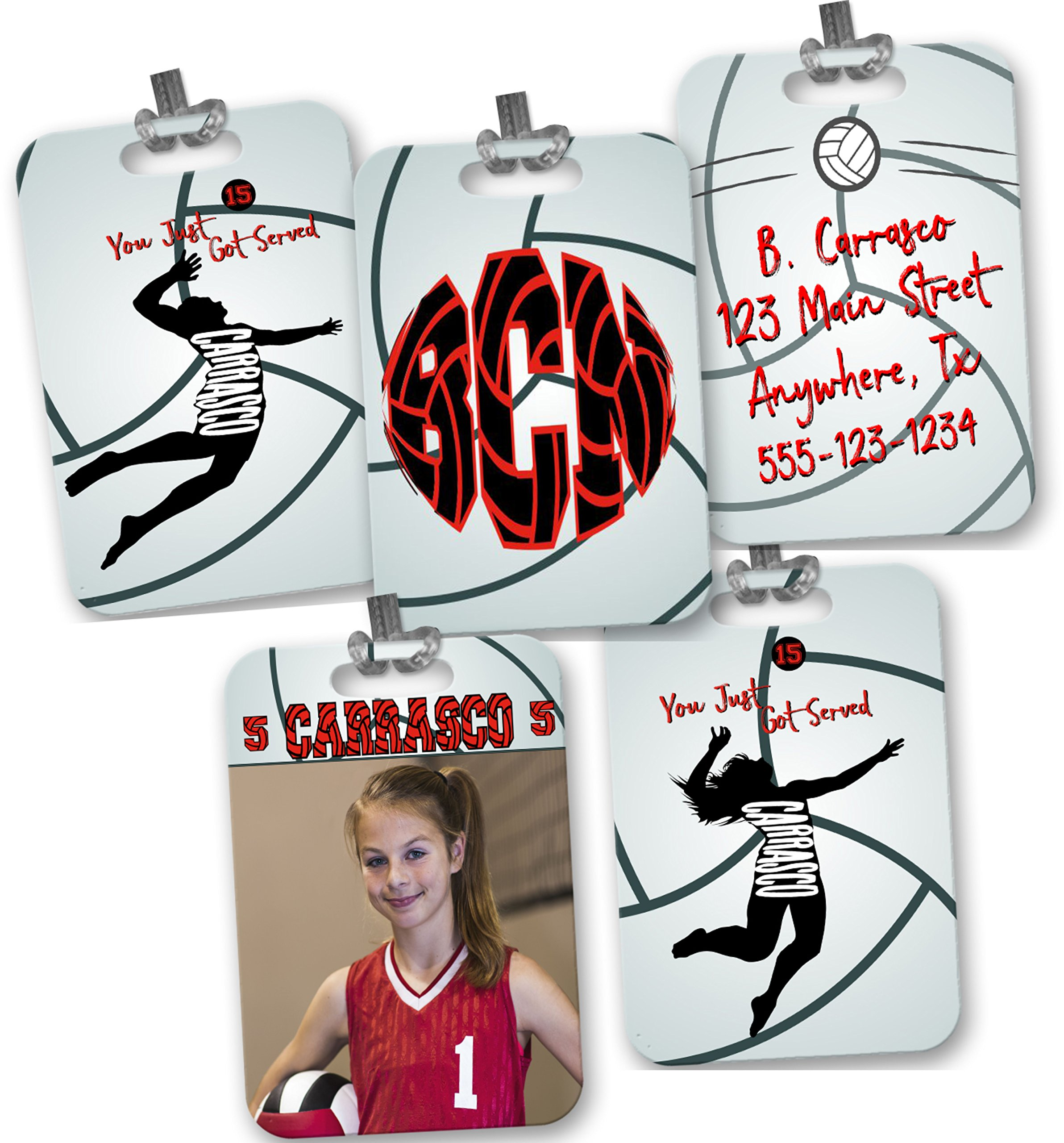 Customized 2-Sided Bag Tag - Volleyball - Rectangle