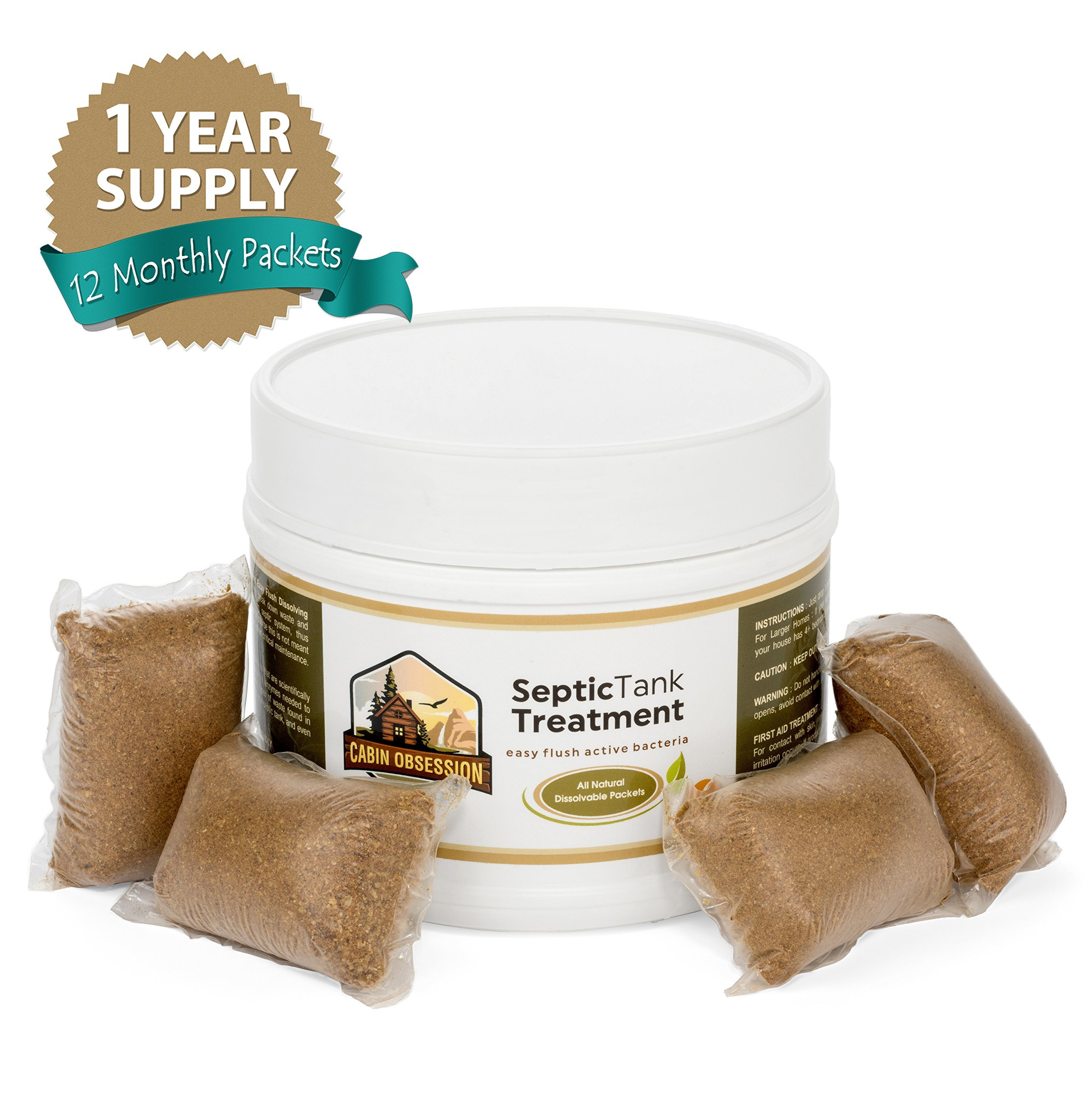 Septic Tank Treatment - 1 Year Supply of Dissolvable Easy Flush Live Bacteria Packets (12 Count) - Best Way to Prevent Expensive Sewage Backups - Made in USA by Septic Treatment by Cabin Obsession (Image #8)