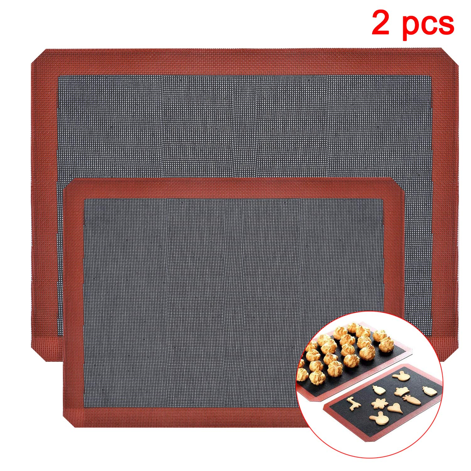 ASENKY Silicone Hollow Baking Mat Sheet, Set of 2. NonStick Oven Liner Perforated Mesh Pad, Baked biscuits Non-stick High Temperature Mat, Breathable Fiberglass Baking Mat, Double-sided Available.