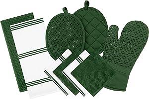 Sticky Toffee Silicone Printed Oven Mitt & Pot Holder, Cotton Terry Kitchen Dish Towel & Dishcloth, Dark Green, 9 Piece Set