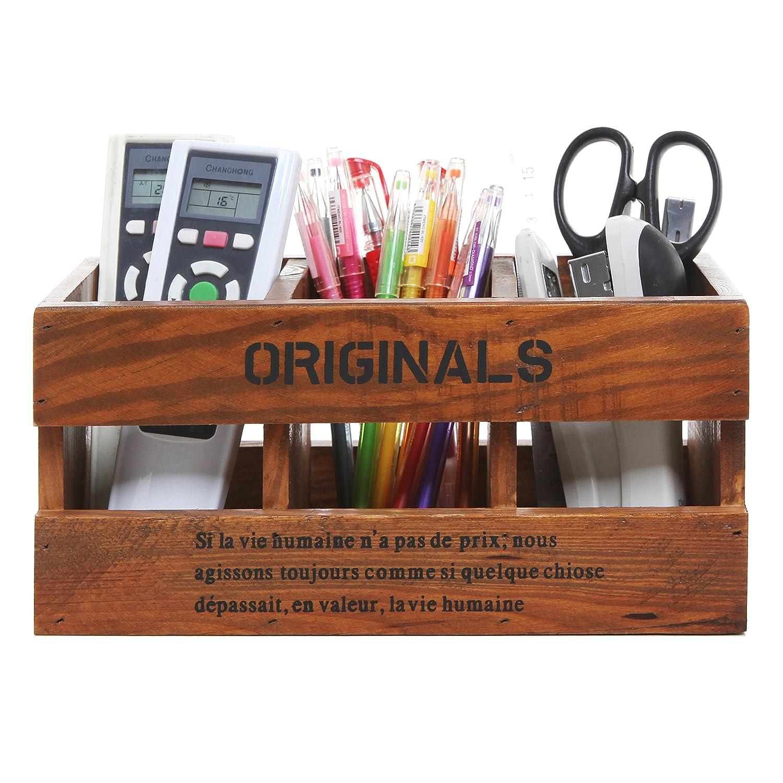 Rústico de madera organizador de escritorio, soporte de ...