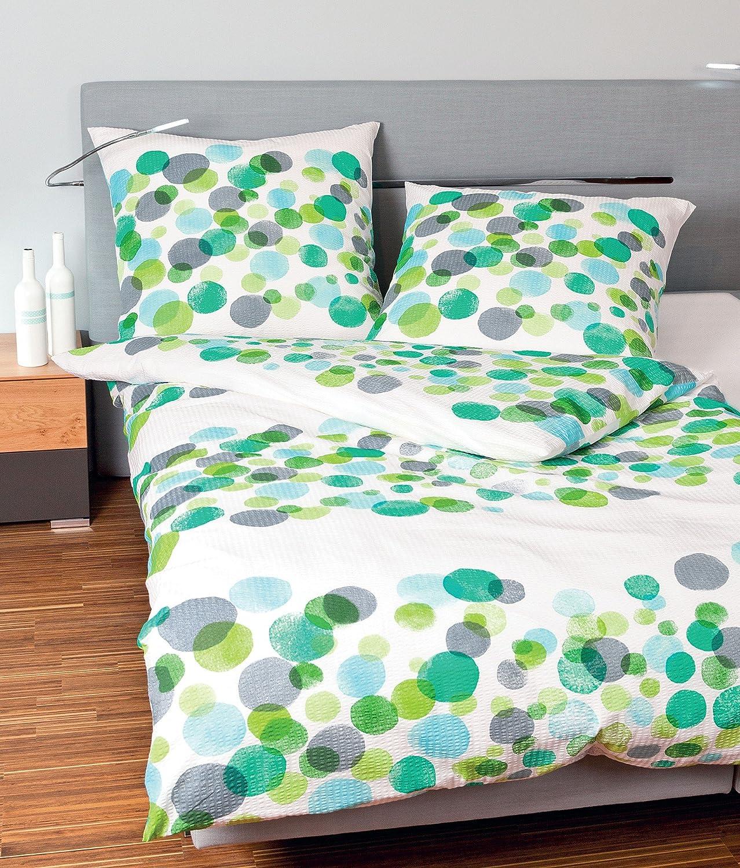 Janine Design Seersucker Bettwäsche Tango 20023-06 grün 155x220 cm + 80x80 cm