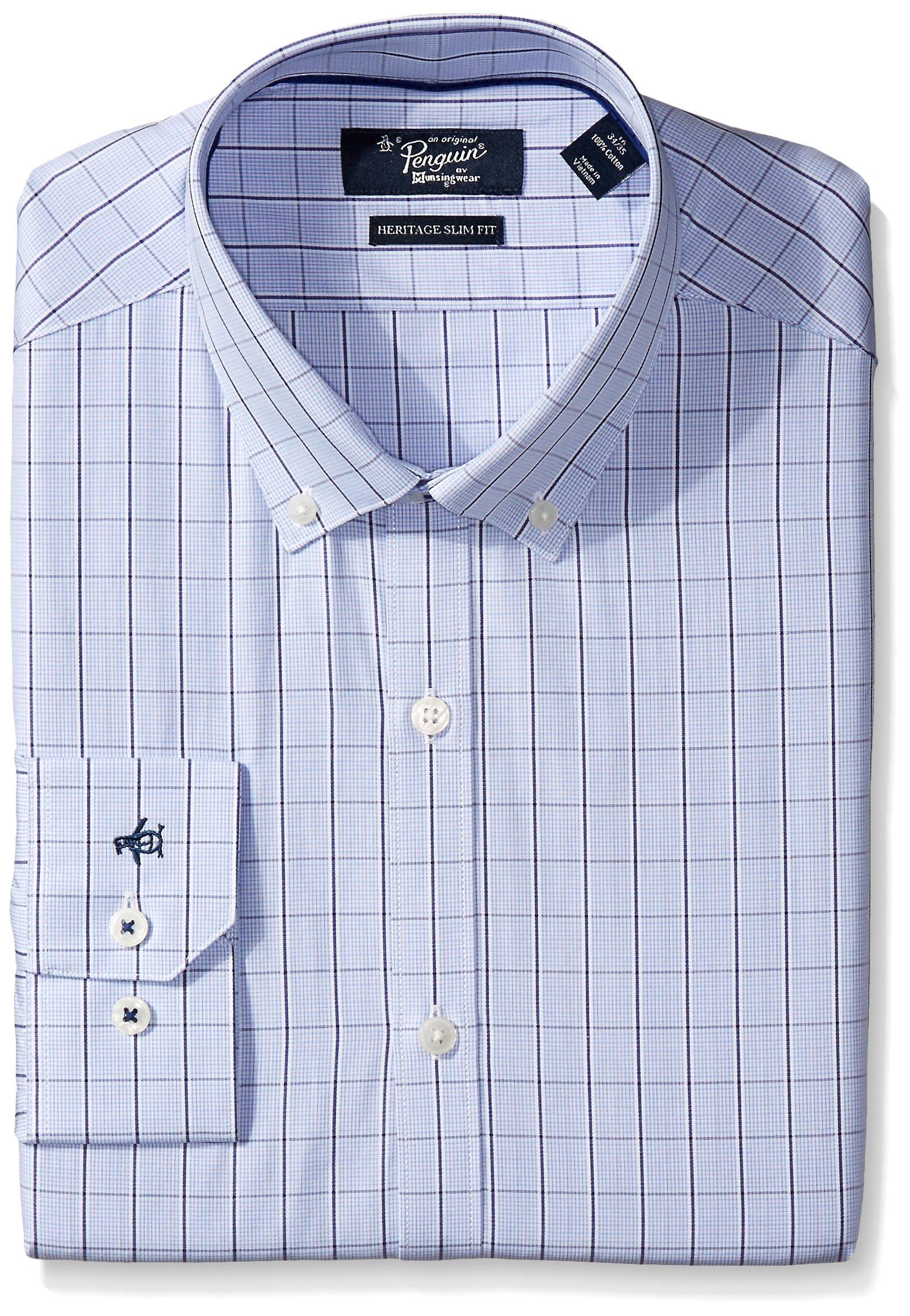 Original Penguin Men's Slim Fit Performance Spread Collar Check Dress Shirt, Blue Windowpane, 15 32/33