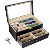 Flytianmy Leather Watch Box and Sunglass Glasses Case Organizer and Jewelry Case Display Drawer Lockable Case Organizer…