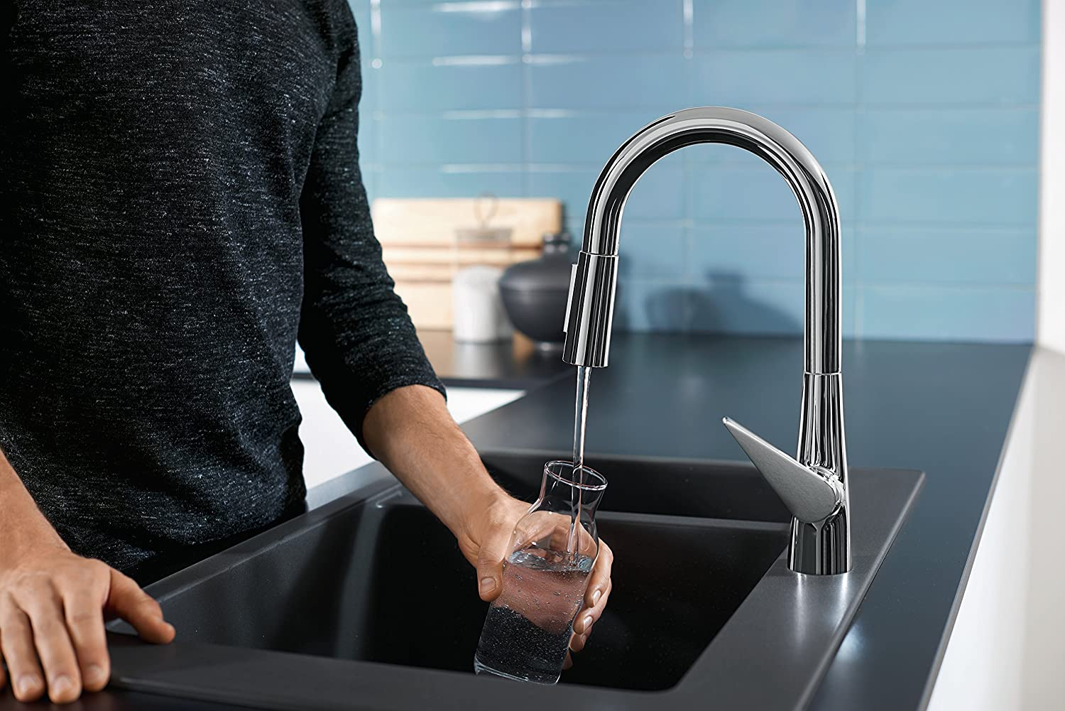 hansgrohe Talis S Kitchen Tap 160, Pull-Out Spray, 110°/150° Swivel ...