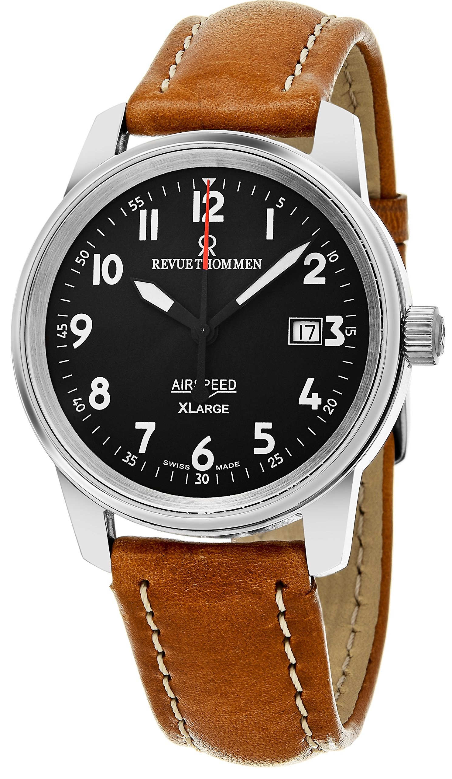 Revue Thommen 'Air Speed XL' Black Dial Brown Leather Strap Swiss Mechanical Watch 16052.2537