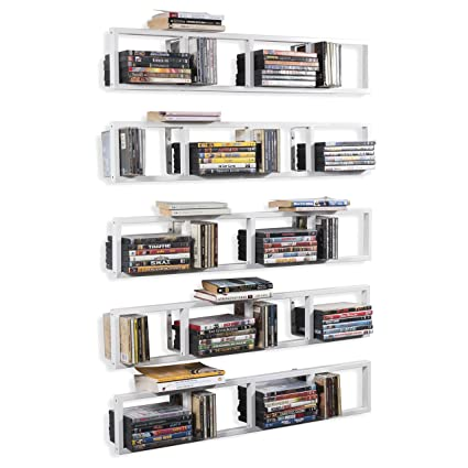 BHG Wall Mount Media Storage Rack Cd DVD Organizer 34 Inch Metal Floating Shelf Set of  sc 1 st  Amazon.com & Amazon.com: BHG Wall Mount Media Storage Rack Cd DVD Organizer 34 ...