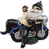 """Alpine Solar Biker Gnome Indoor/Outdoor - Beer Can Lights Up When Dark! - 10""""H x 12""""L x 6""""W"""