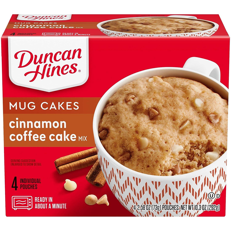 Duncan Hines Mug Cakes Cinnamon Coffee Cake Mix, 4 - 2.58 OZ Pouches