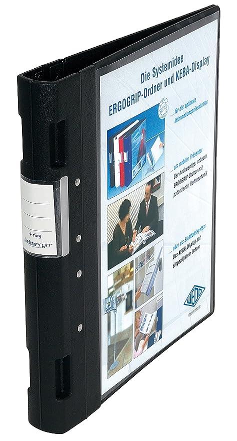 Wedo 05815001 - Archivador plástico con cierre ergonómico A4 4 anillas 40 mm color negro