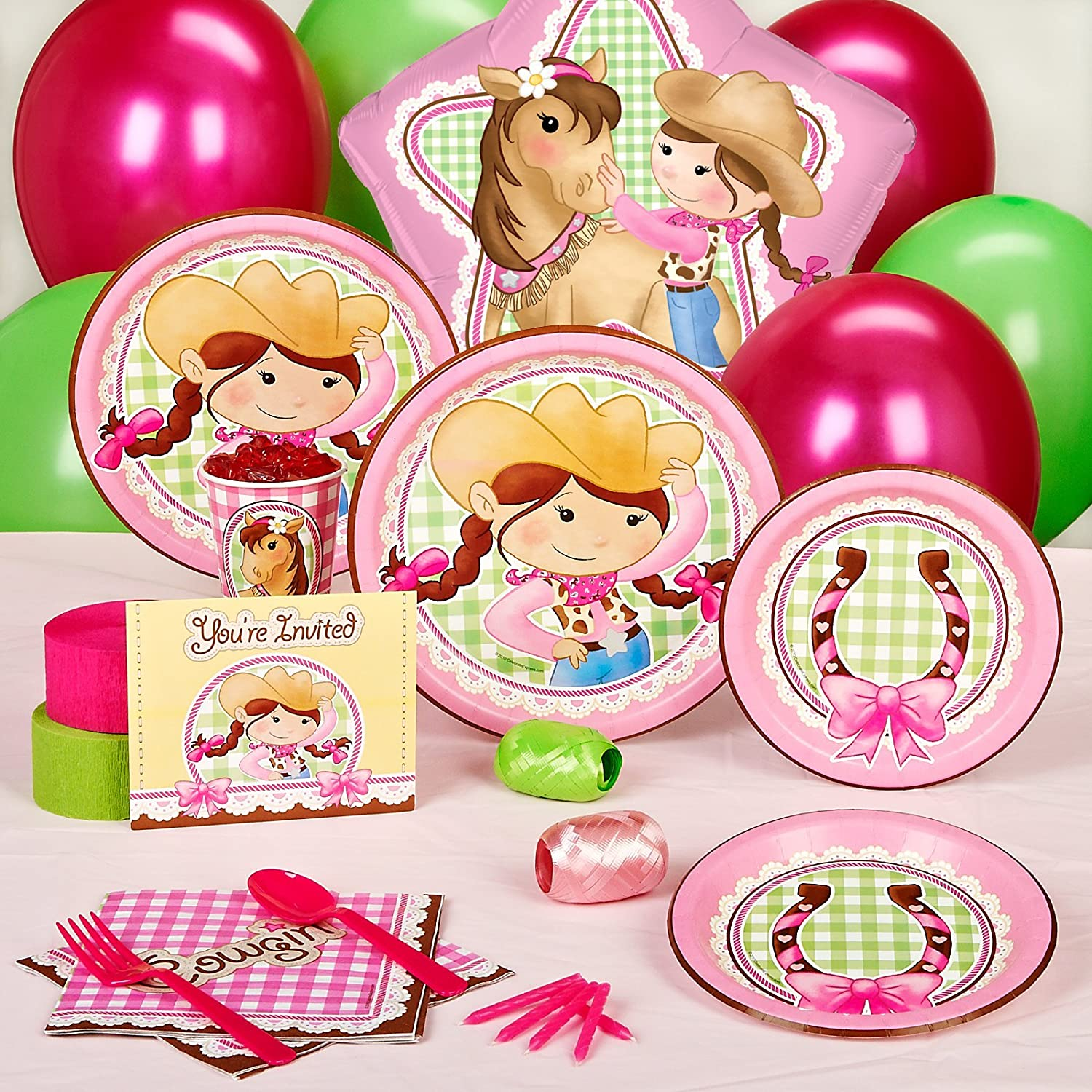 Amazon.com: Pink Cowgirl Party Supplies - Standard Party Pack for ...