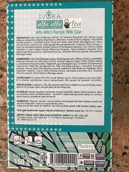Ivora Alfa Alfa Tea Mixed Herbal-DETOX & CLEANSE WEIGHT LOSS ...