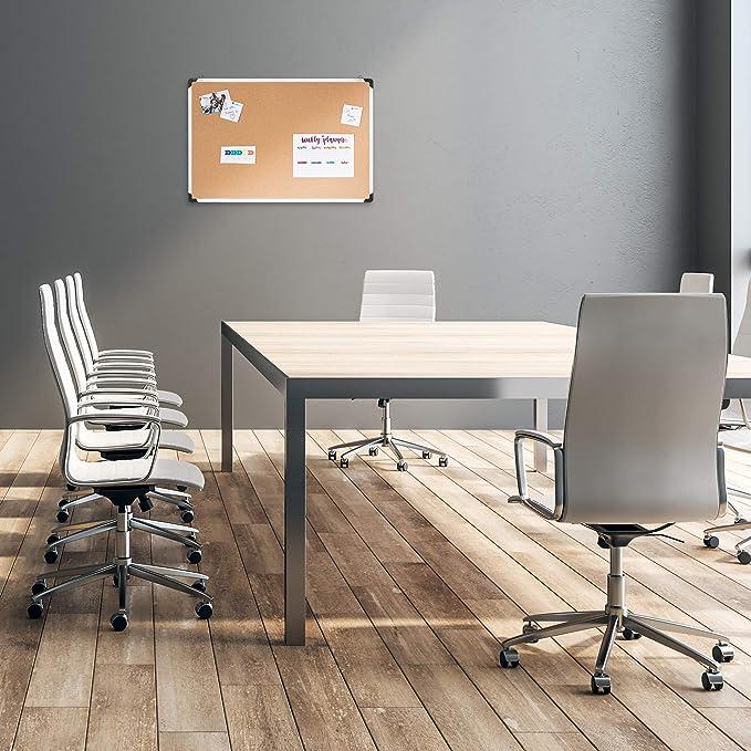 per Ufficio plastica HxL: 35 x 50 cm 35 x 50 x 1,8 cm Marrone da Appendere Argento//Legno Naturale Relaxdays Bacheca in Sughero Telaio in Alluminio