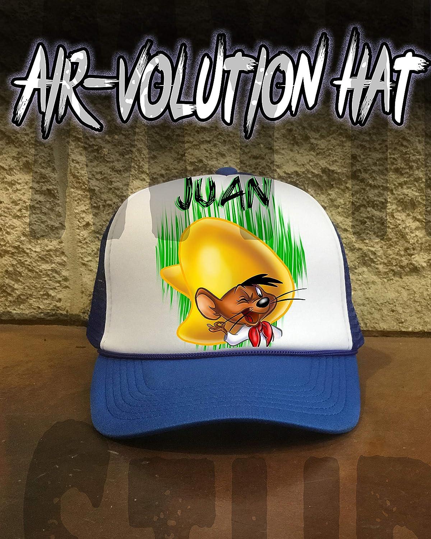 749ec7caab1 Amazon.com  Personalized Airbrush Speedy Gonzalas Snapback Trucker Hat   Handmade