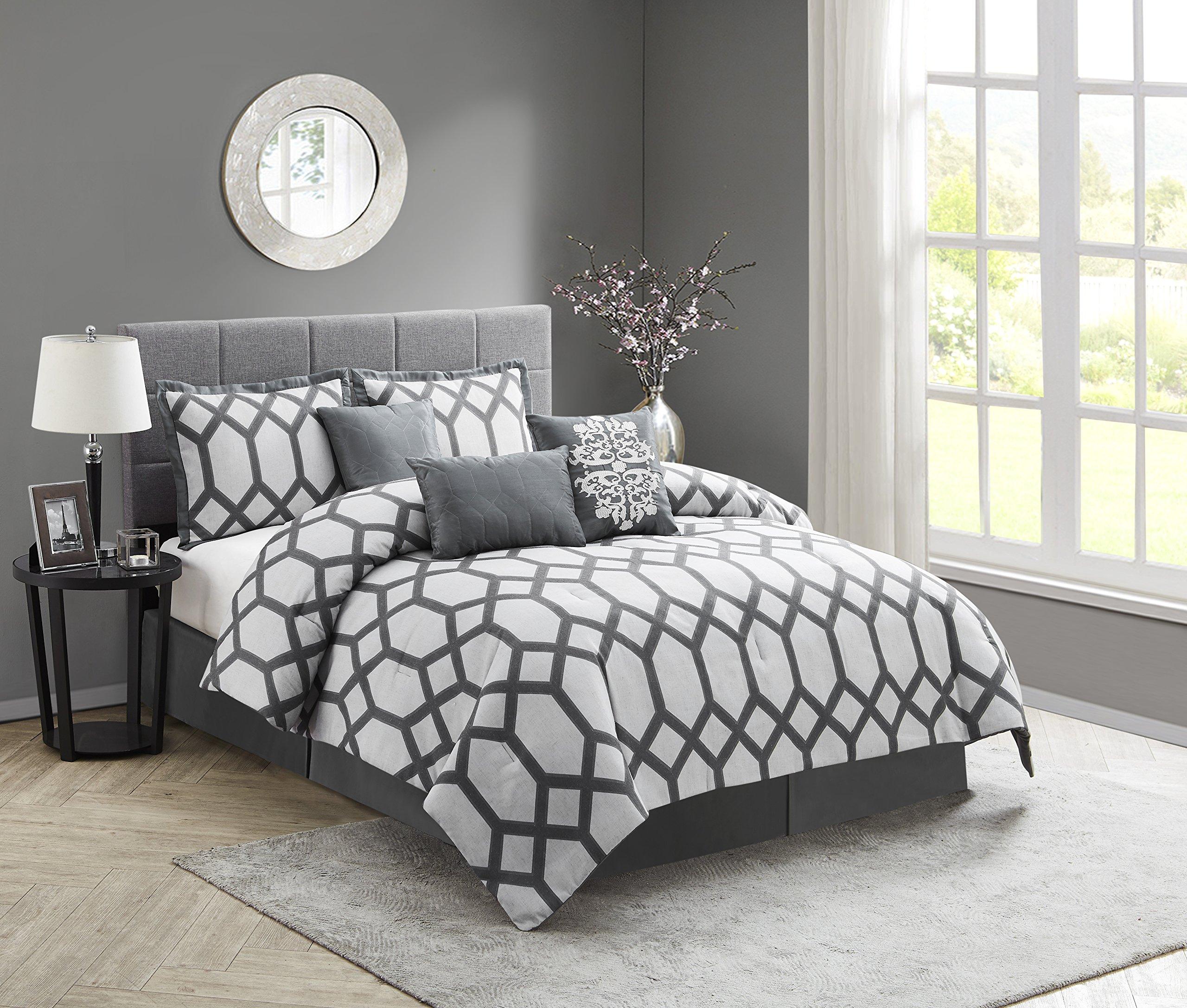 Nanshing America Nadia 7 Pc Comforter Set, California King, Gray