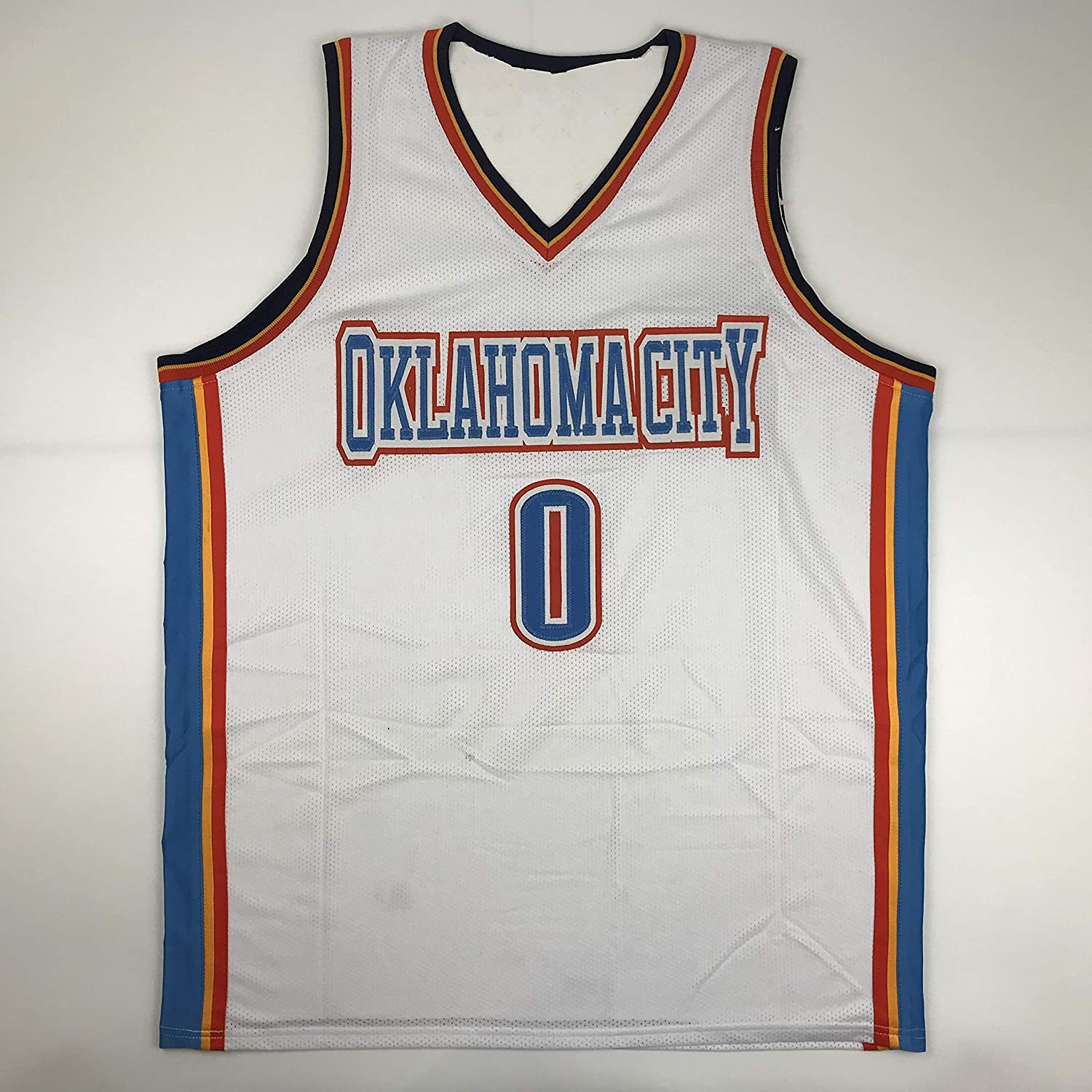 Unsigned Russell Westbrook Oklahoma City White Custom Stitched Basketball  Jersey Size Men s XL New No Brands Logos at Amazon s Sports Collectibles  Store 4b9d6449d