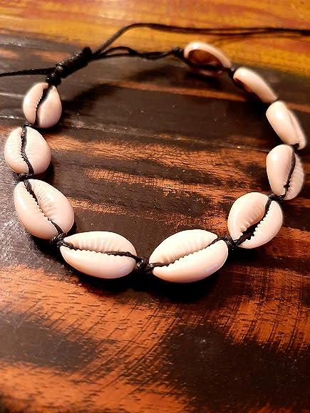 BALI PAPAYA Bracelet de Cheville Coquillage Cauri Porcelaine Cha/îne Ethnique Bijoux