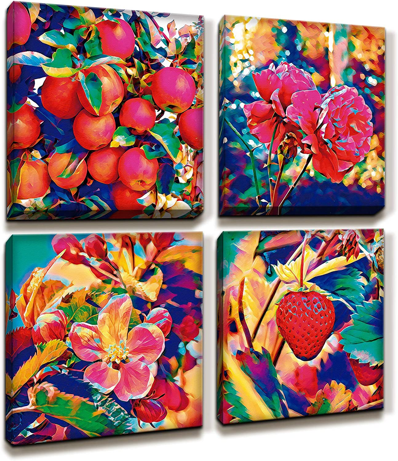 MARG Wall Decorations for Living Room, Colorful Fruits Canvas Wall Art, 4 Panels 12x12 inch/Piece, Home Decor
