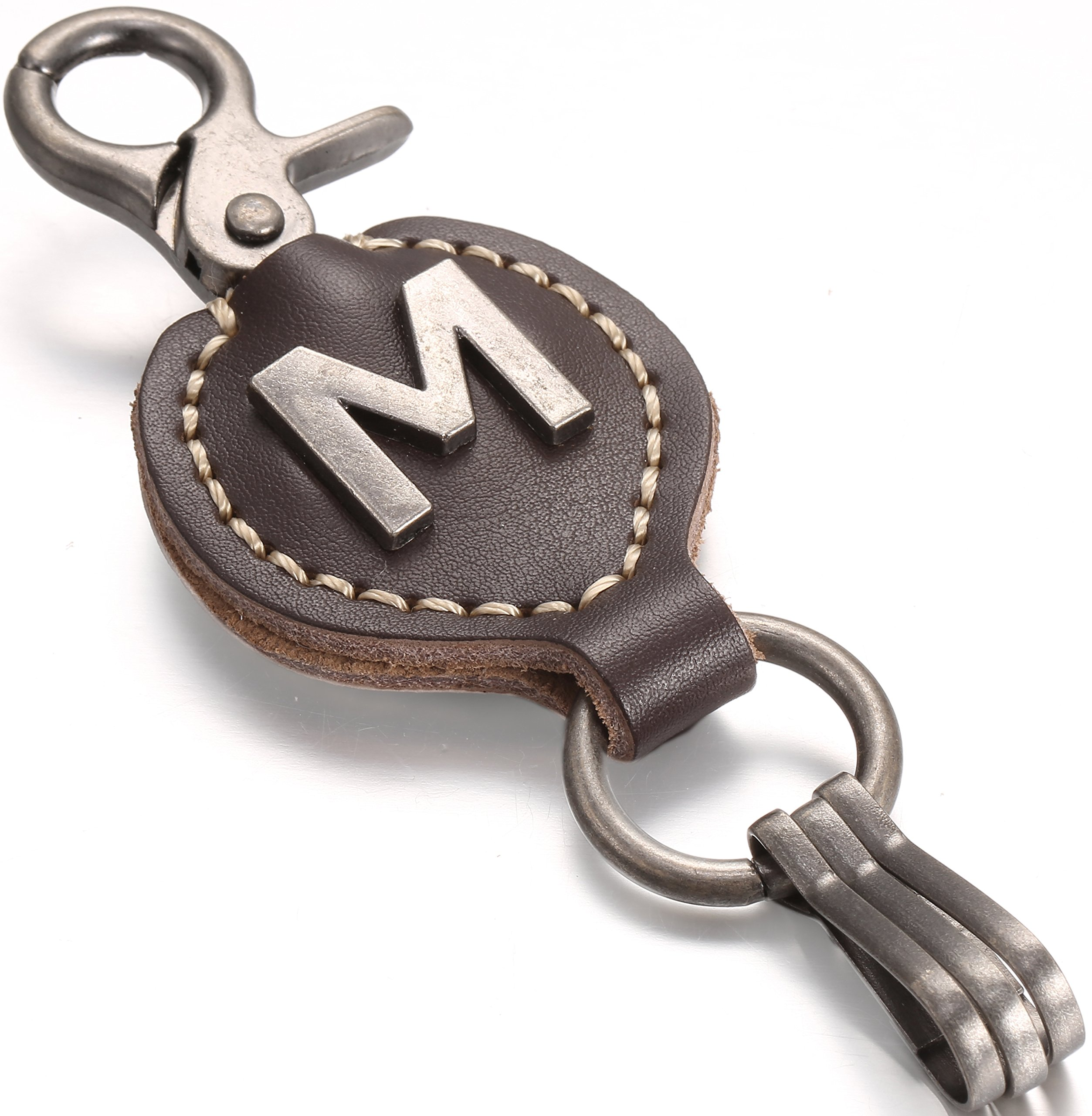 Brown Leather Alphabet Keychain, Single Letter with Easy Clasp Key - by Marino Ave - M - onesize by Marino Avenue