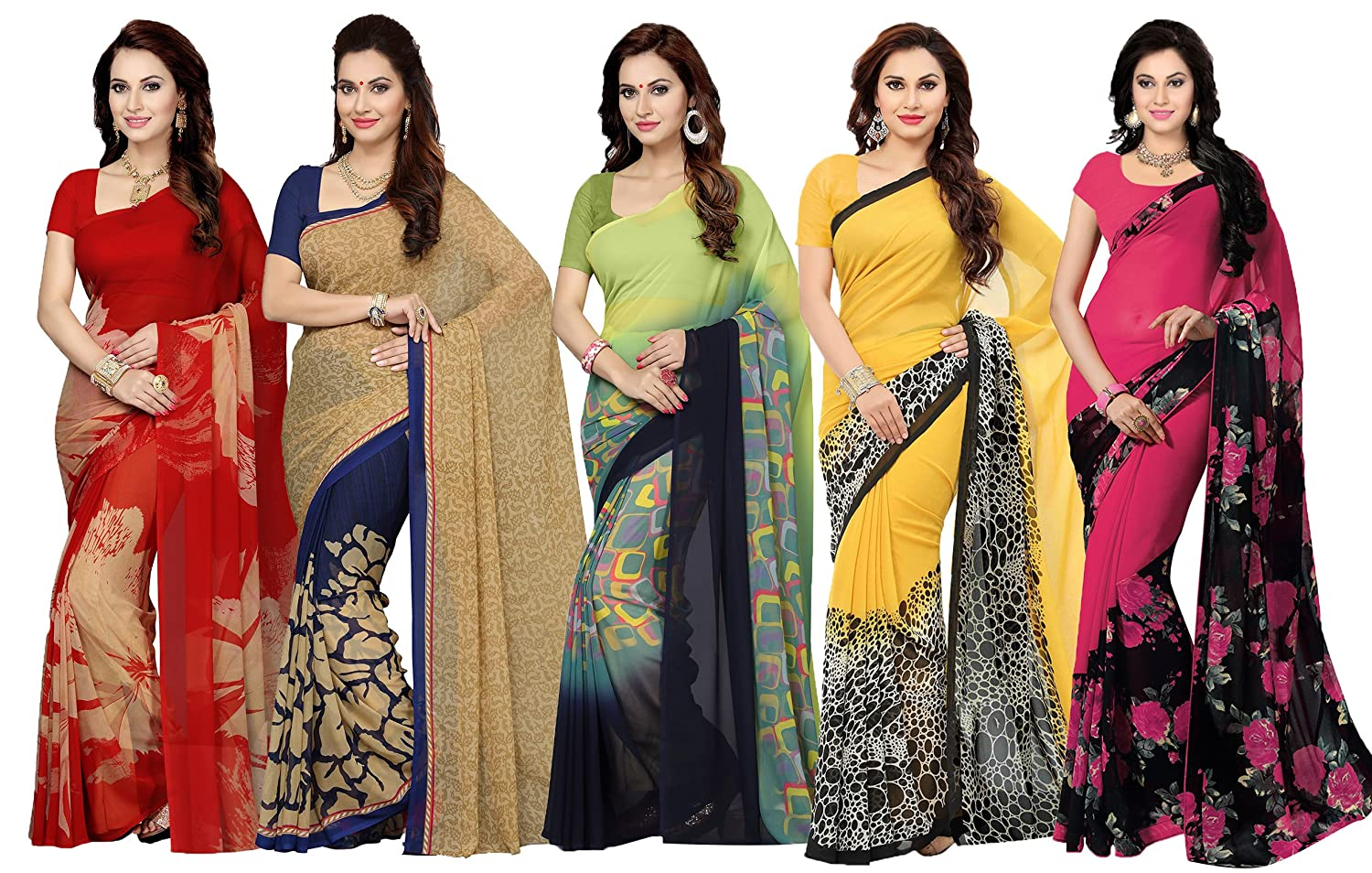 Ishin Combo Of 5 Faux Georgette Saree With Blouse Piece (Multicolor_Free Size)