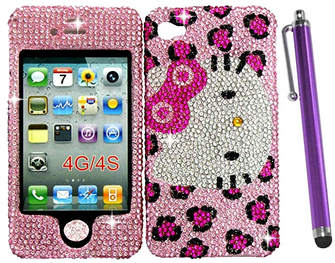 1484af9a0 Bling Cell Phone Cases for Girls Fits Iphone 4 4s Hello Kitty Leopard  Cheetah Hard Rhinestone