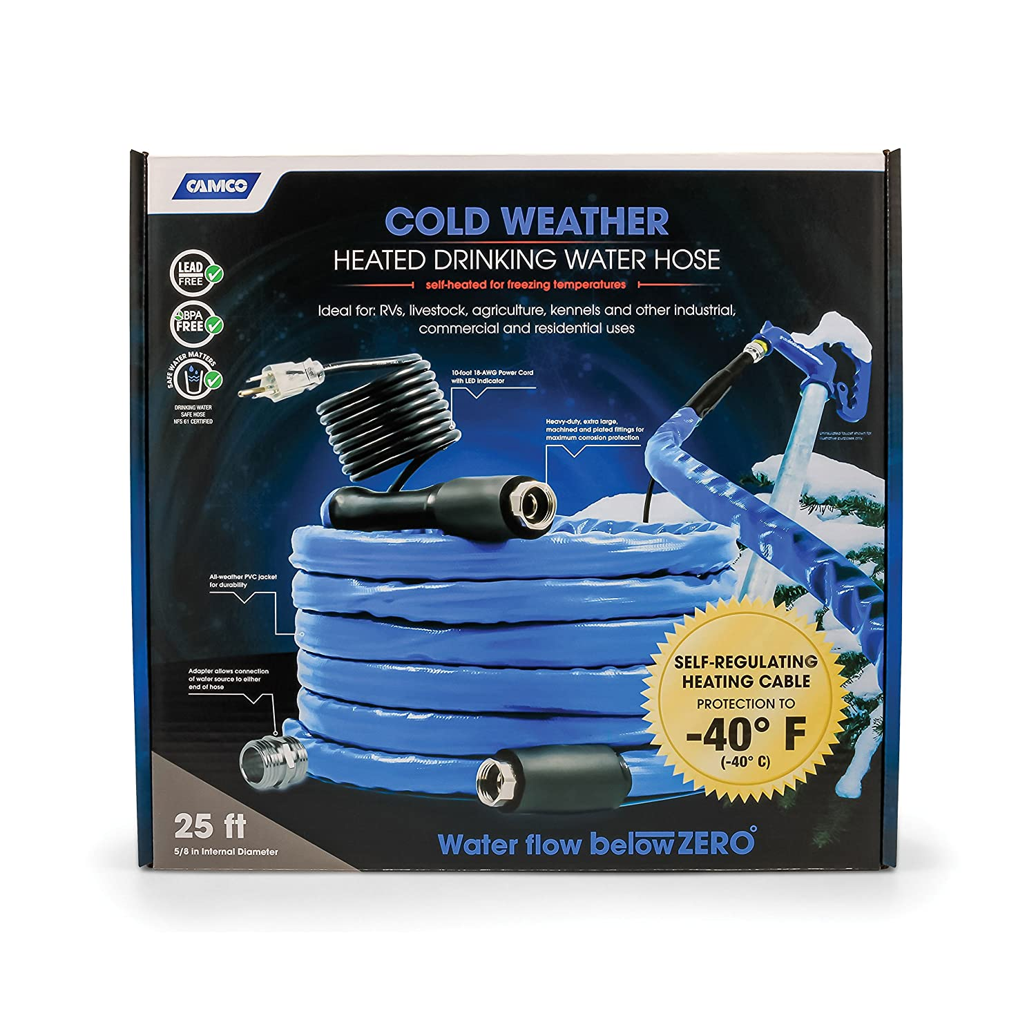 Reinforced for Maximum Kink Resistance Camco 25ft Cold Weather Heated Drinking Water Hose Can Withstand Temperatures Down to -40/°F//C-  Lead and BPA Free 22922 5//8 Inner Diameter