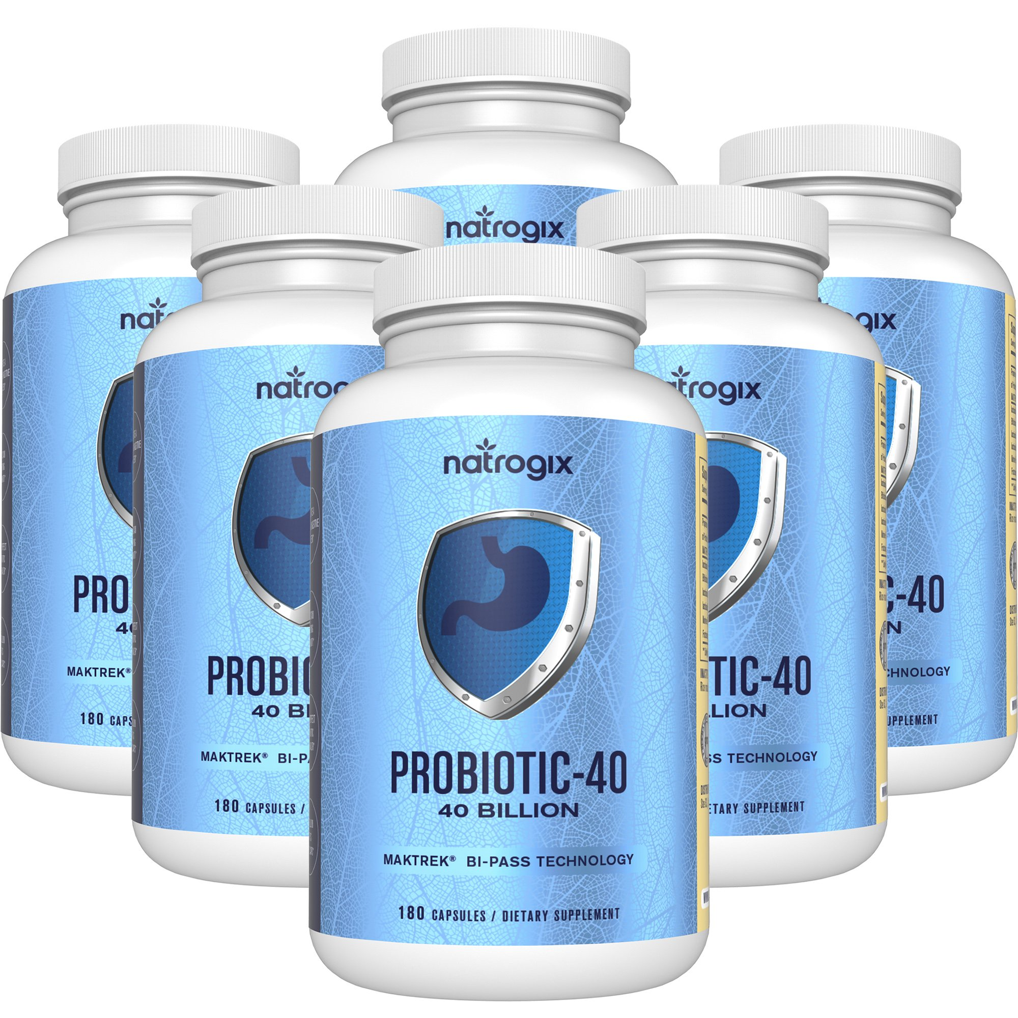 Natrogix 40 Billion Probiotics CFUs Organism Viable Probiotic, Digestive Aids with Multiple Strains of Probiotics, Digestive Health Support, Immune System Booster (180 Capsules) * (6Bottles)