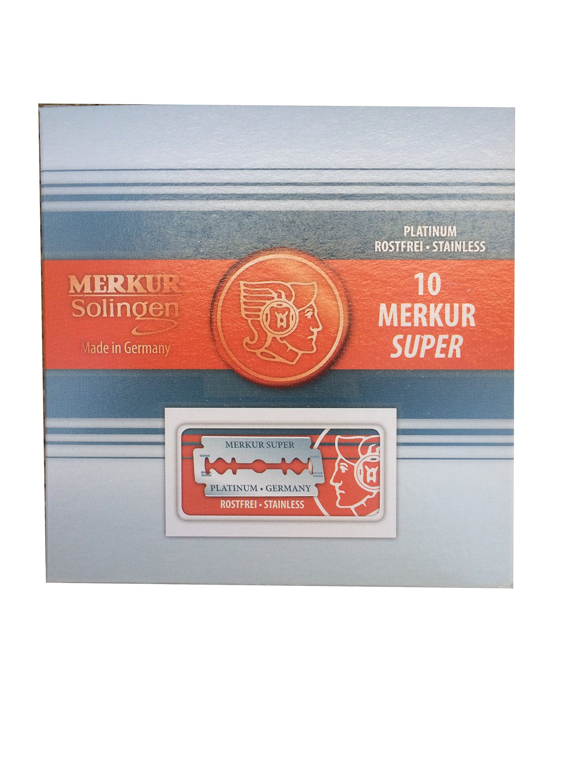Merkur Super Platinum Double Edge Safety Razor Blades, 100 blades (10x10)