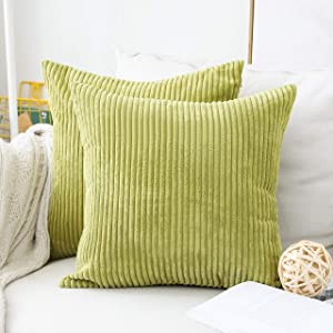 Home Brilliant Pillow Covers 20x20 inch Solid Supersoft Corduroy Stripes Square Throw Pillow Cushion Covers Decorative, 50x50cm, Grass Green