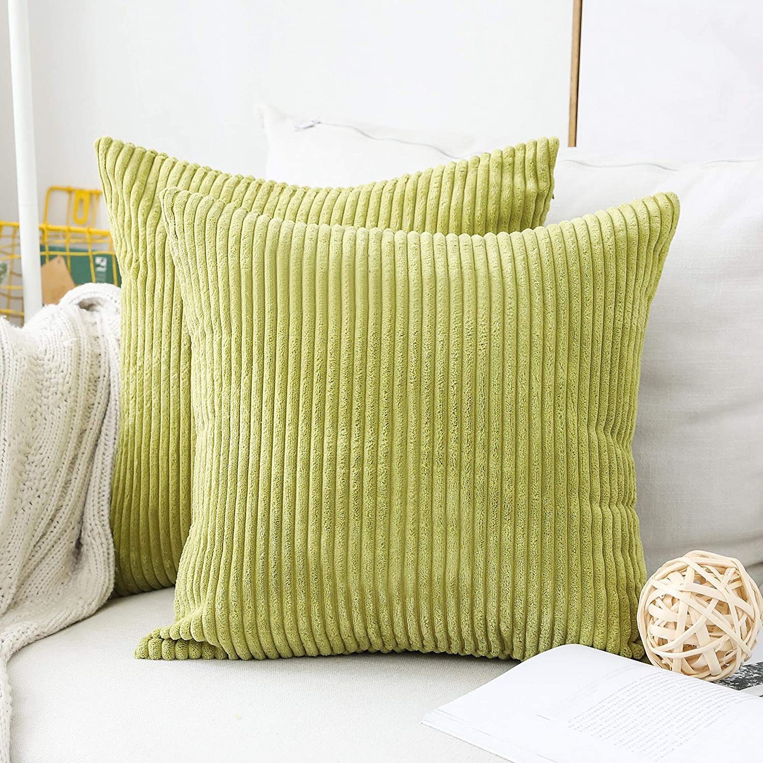 Home Brilliant Set of 2 Striped Textured Velvet Corduroy Decorative Europe Sham Throw Pillow Cushion Cover for Couch, (66x66 cm, 26inch), Grass Green