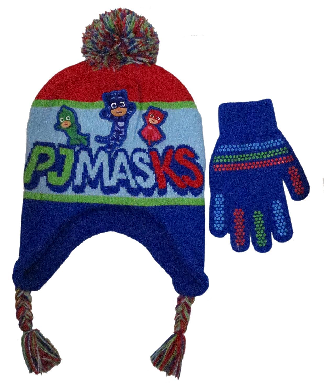 Beanie Cap - PJ Mask - Team Red/Blue Pompom & Glove Set New 302334 BioWorld 00-HG6H1X