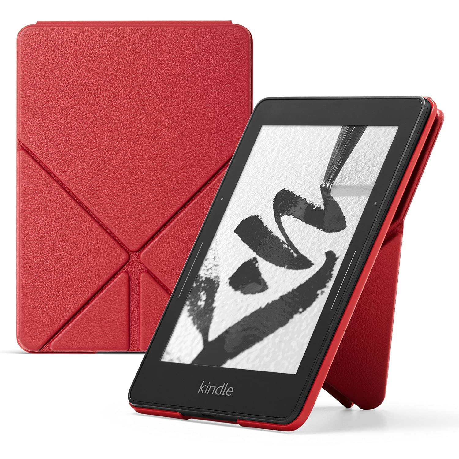 Kindle Voyage Case - Genuine Leather Perfect Fit Origami Standing Cover with Auto Wake/Sleep for  Kindle Voyage, Red