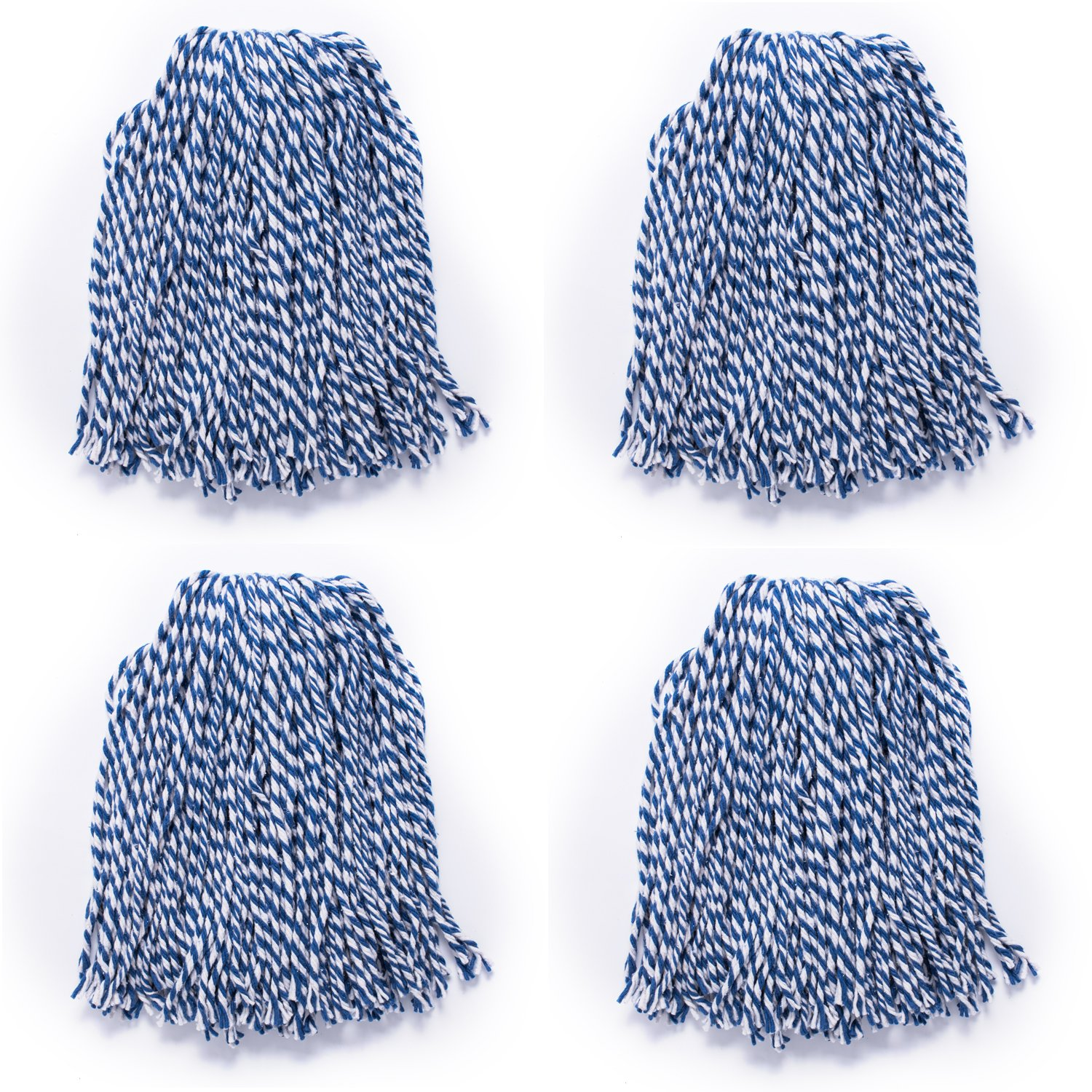 Commercial-Grade String Mop Large Size for Home Blue QIPENG 18 Cotton Wet Mop Heads Refill 4 Pack Industrial Use