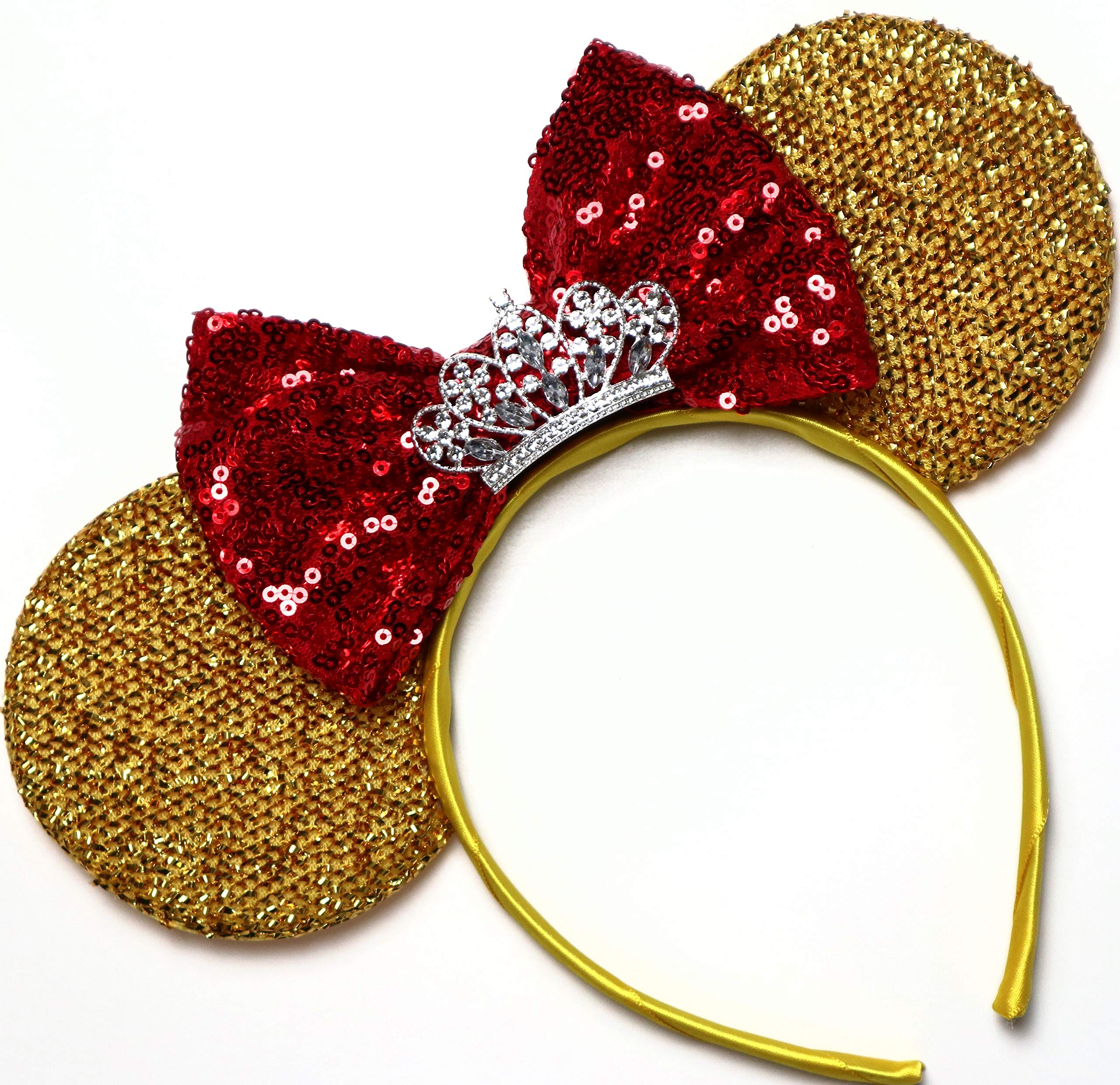 CLGIFT Beauty and The Beast Ears, Belle Ears, Minnie Ears, Disney Ears, Gold Minnie Ears