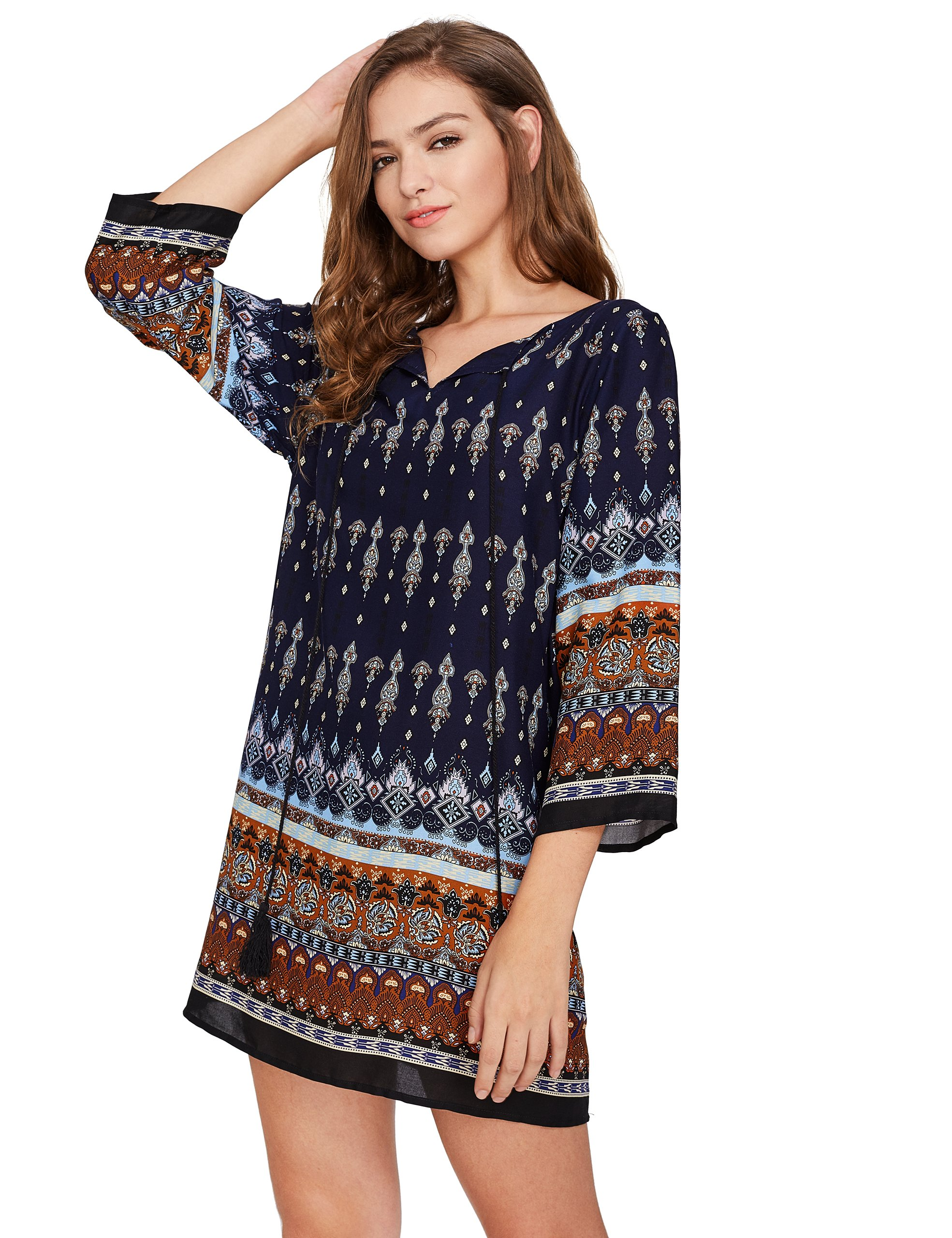 ROMWE Women's Boho Bohemian Tribal Print Summer Beach Dress Navy S by Romwe (Image #5)