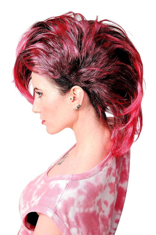 WIG ME UP ® - PW0078-1-P103PC41 Peluca negra bisoñe Glam Punky peinado mohicano negro -pinky