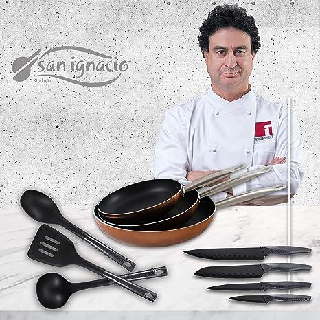 San Ignacio Professional Chef Copper Set de 3 sartenes + 4 Cuchillos 3 Utensilios de Cocina