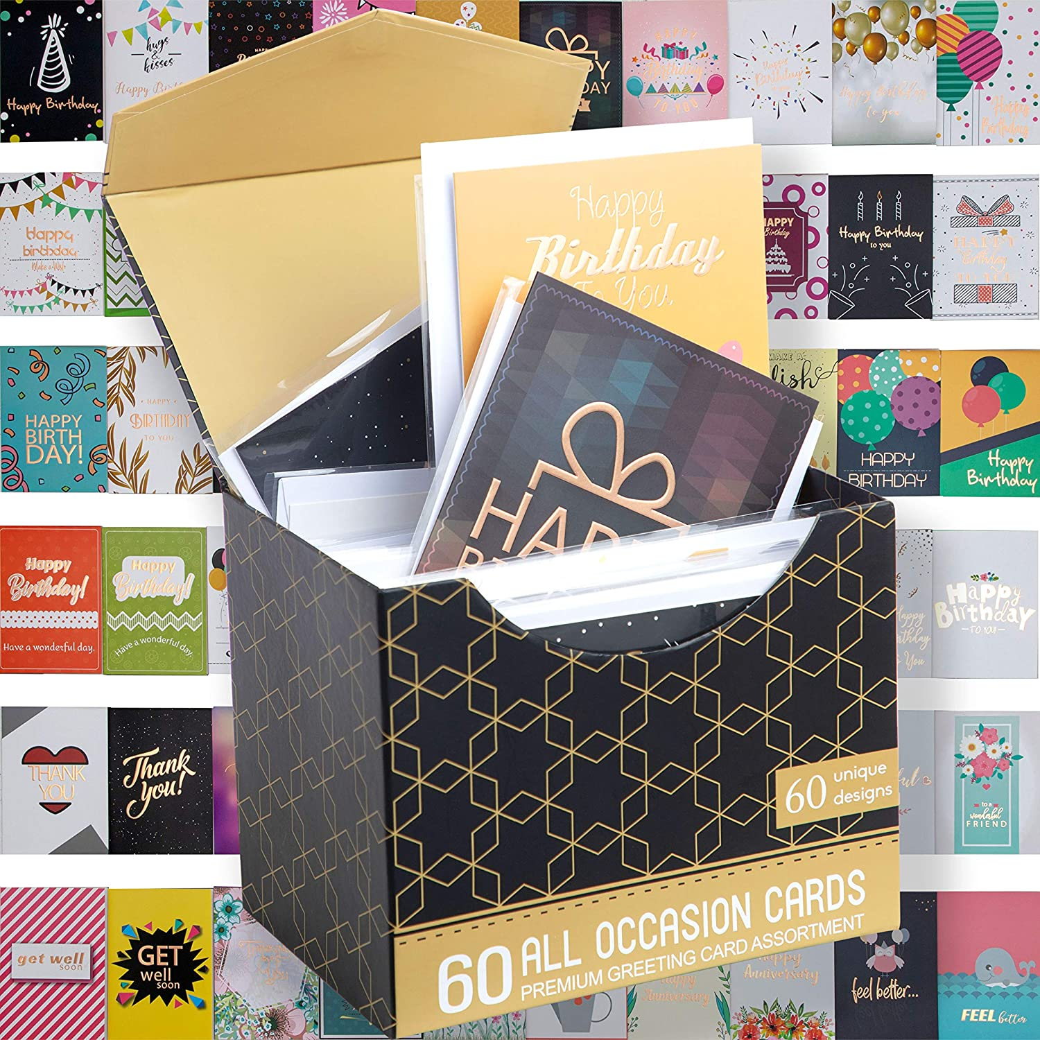 "60 ROSE GOLD FOILED Birthday Cards w/Assorted All Occasion Greeting Cards - ALL UNIQUE DESIGN, BIG 5""x7"", Thank You, Anniversary Cards, Simple Message Inside, Magnetic Box Variety Set w/Thick Envelope"