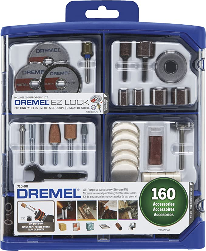 Dremel Rotary Tool Accessory Kit- 710-08- 160 Accessories- EZ Lock Technology- 1/8 inch Shank- Cutting Bits, Polishing Wheel and Compound, Sanding Disc and Drum, Carving, Sharpening, and Engraving - - Amazon.com